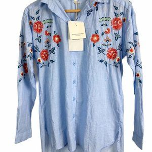 NWT Beach Lunch Lounge Embroidered Button Down